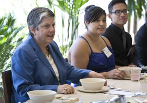 Janet Napolitano with Fiat Lux students