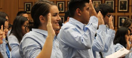 Members of a new class of JusticeCorps members were sworn in at the Los Angeles Superior Court on Sept. 9