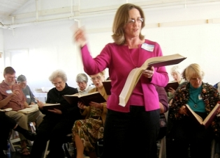 Keating leads a singing at the 2008 All-California Sacred Harp Convention in San Pedro.