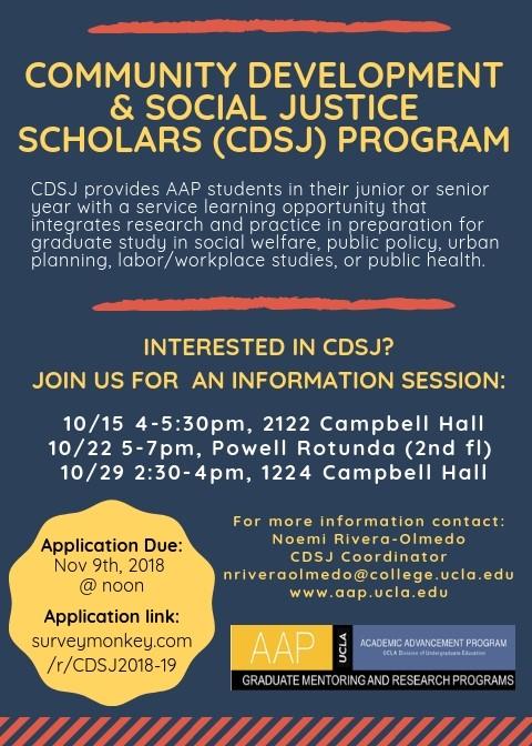 CDSJ Program Info session flyer